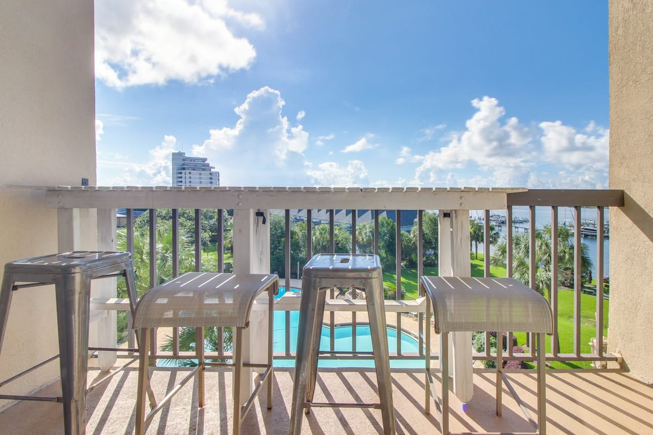 Private balcony at Fort Walton Beach, FL vacation condo rental