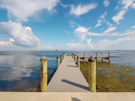 Bayfront boat dock in Holmes Beach, FL