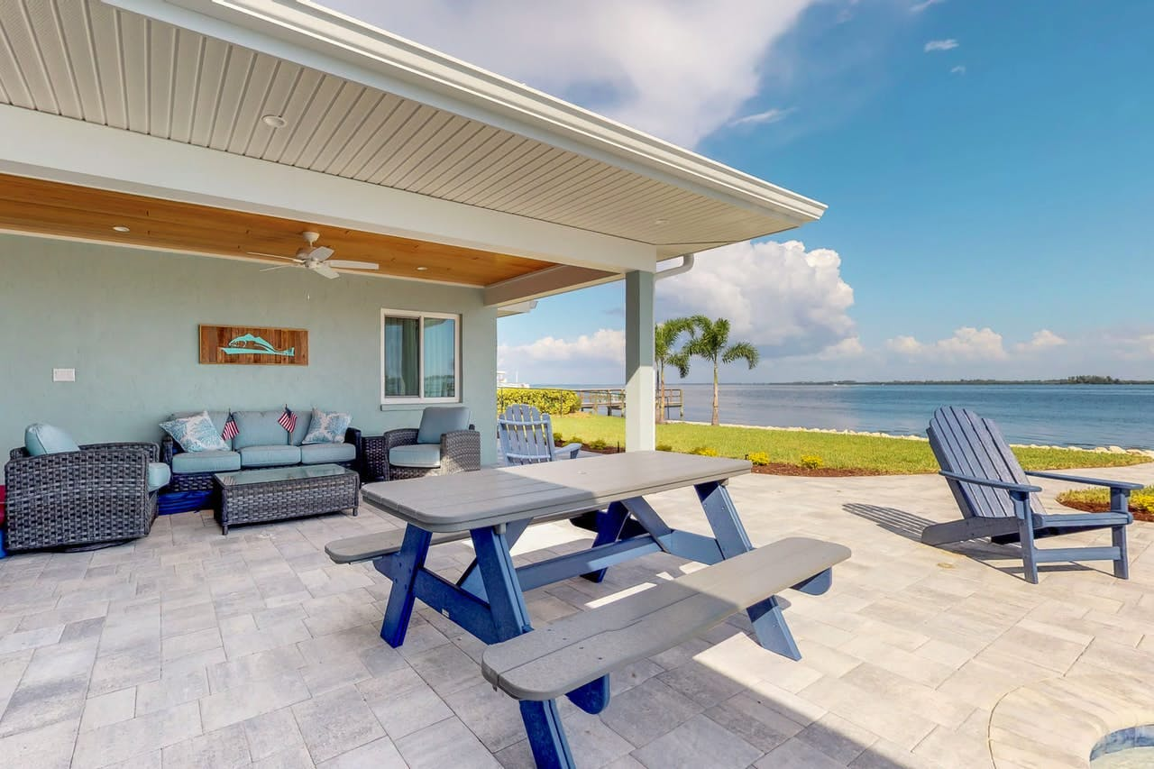 Vacation rental in Holmes Beach with ample outdoor seating