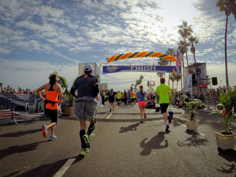 the finish line at a florida keys race