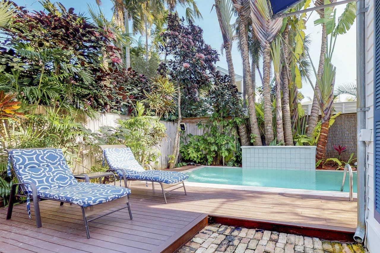 Vacation rental in Key West, FL with backyard oasis featuring a private pool