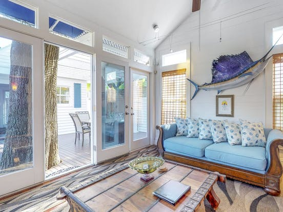 Beachy decor inside this Key West vacation rental