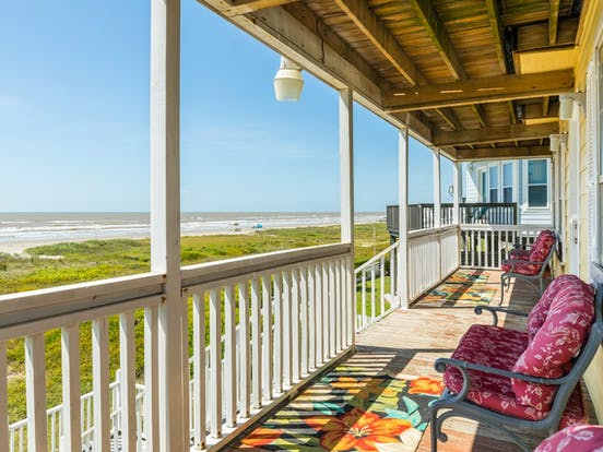First floor deck of vacation rental located in Galveston