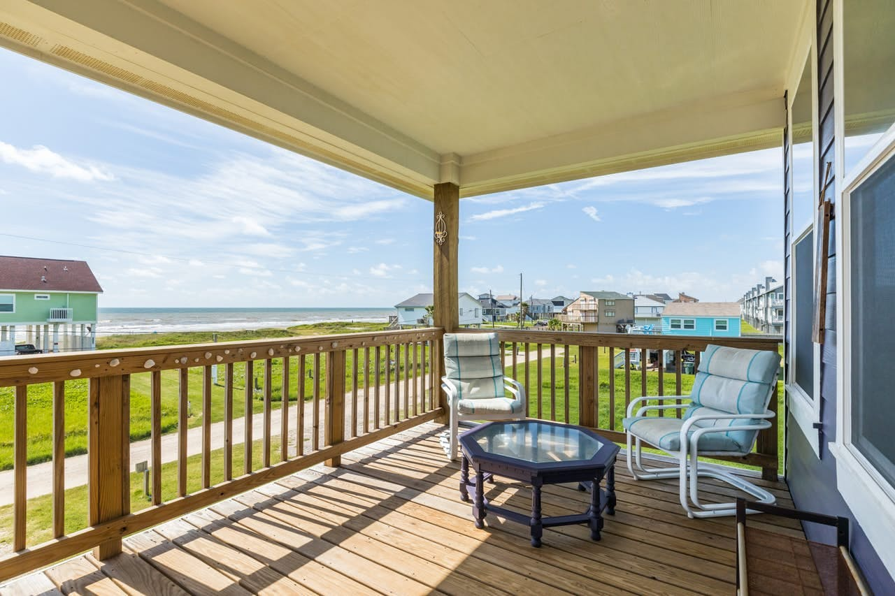 Front deck of Galveston beach house facing the Gulf