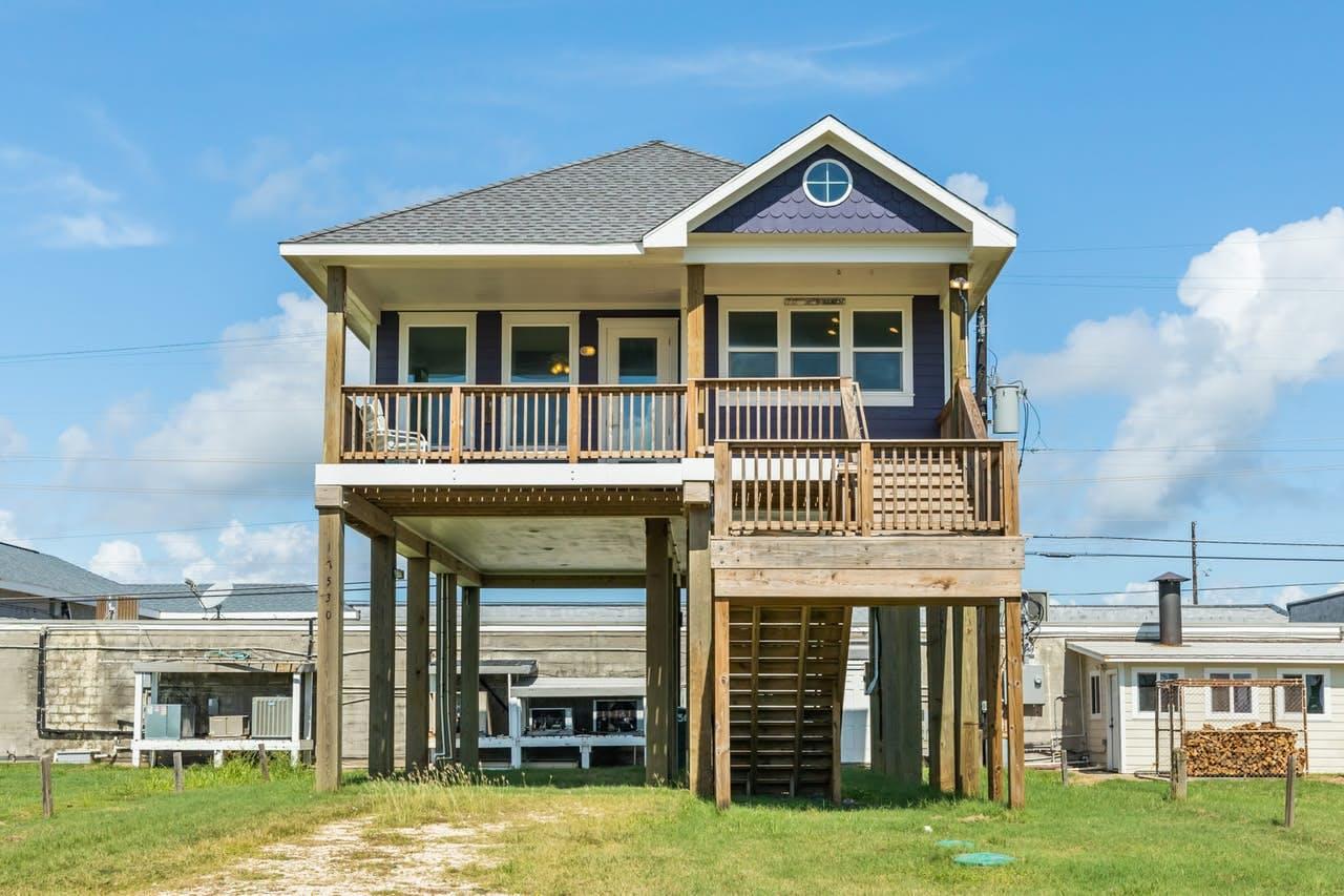 Purple beach house located in Galveston, TX