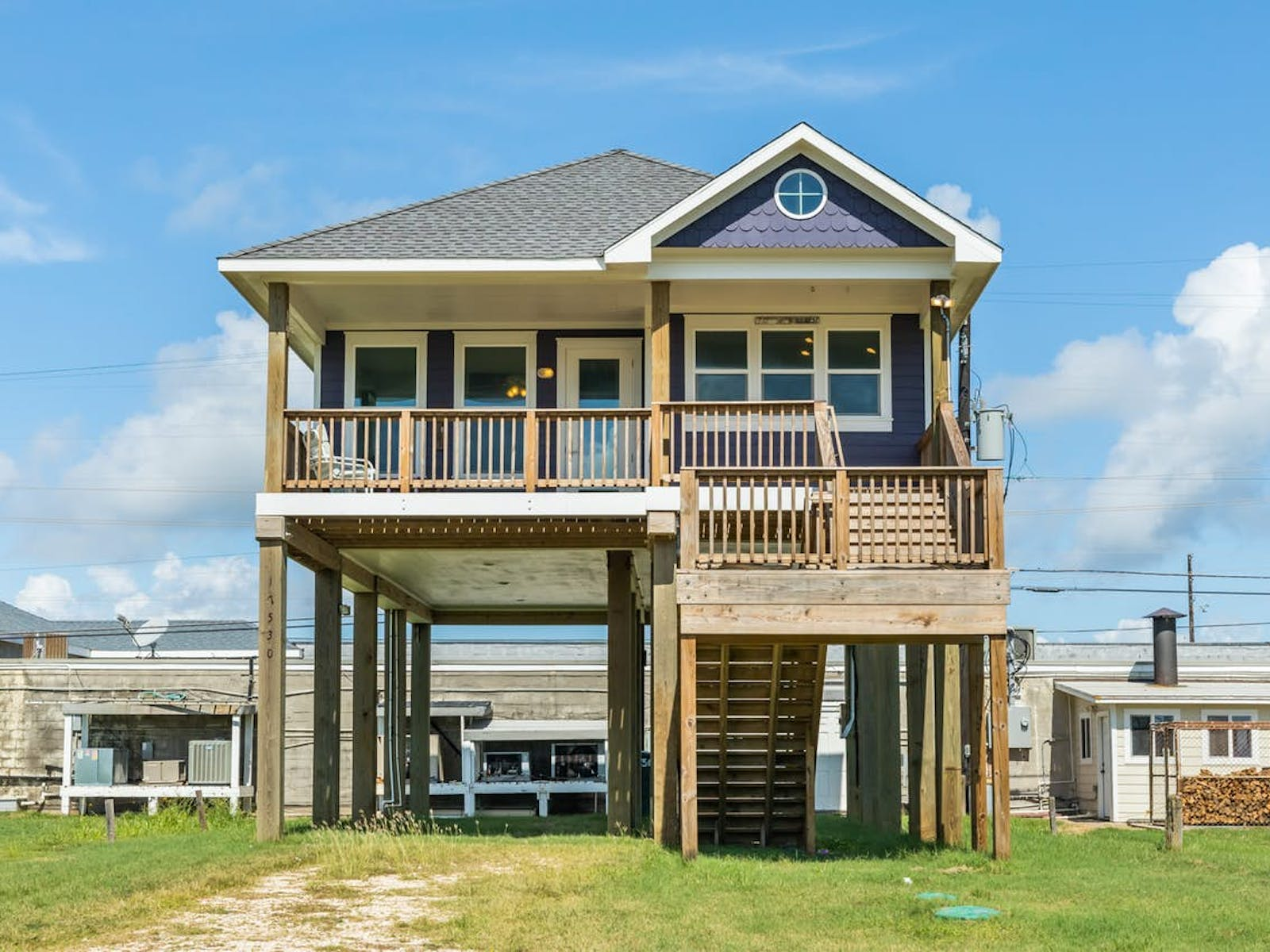 Purple beach house located in Galveston, TX
