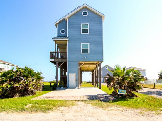 blue Galveston beach house rental