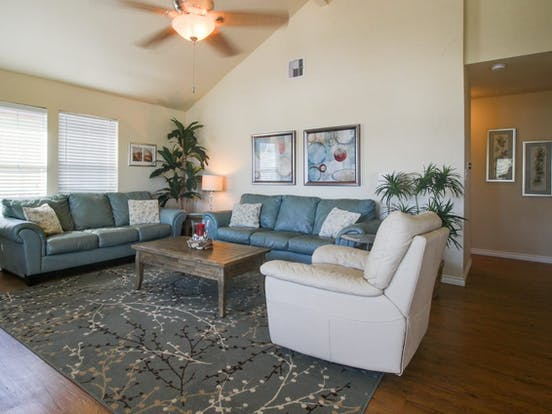 living area of vacation rental in Galveston, TX