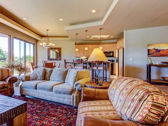 Living area of vacation rental in St. George, UT with ample seating and lighting