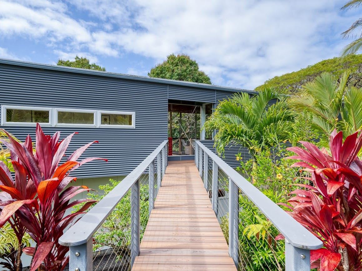 Exterior of modern vacation rental in Hawaii
