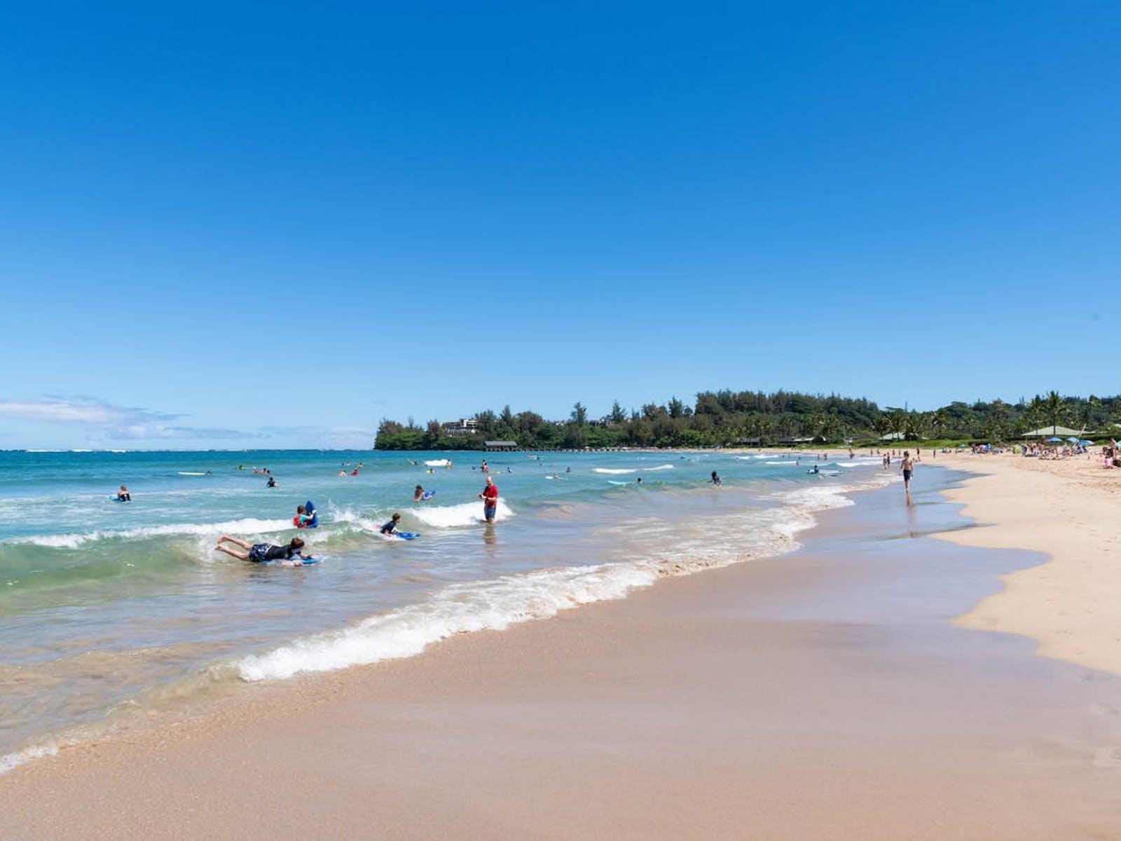 Beach-goers enjoying the water in Kauai, Hawaii