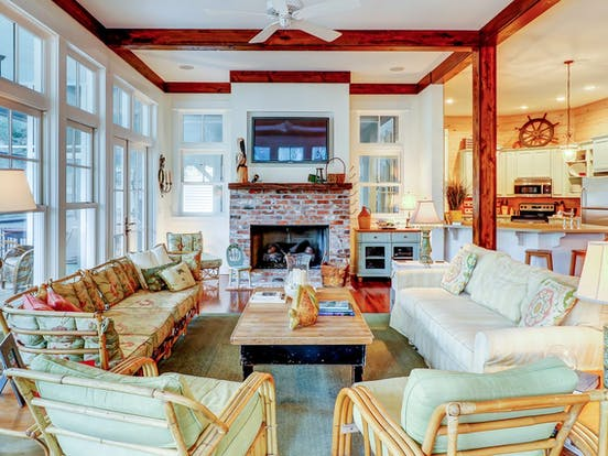 Interior of beach cottage located in Hilton Head