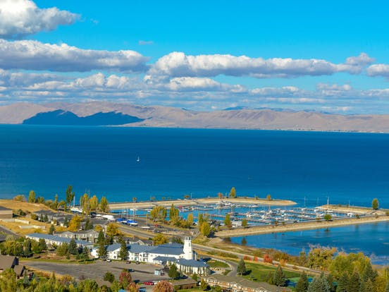 Bear Lake, Utah with boat docks