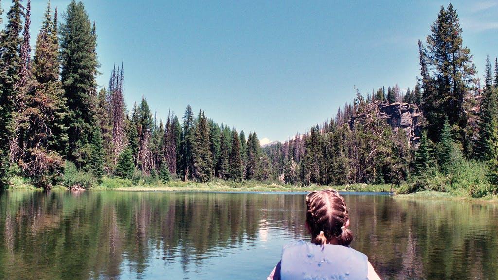 a woman on a raft at Payette Lake