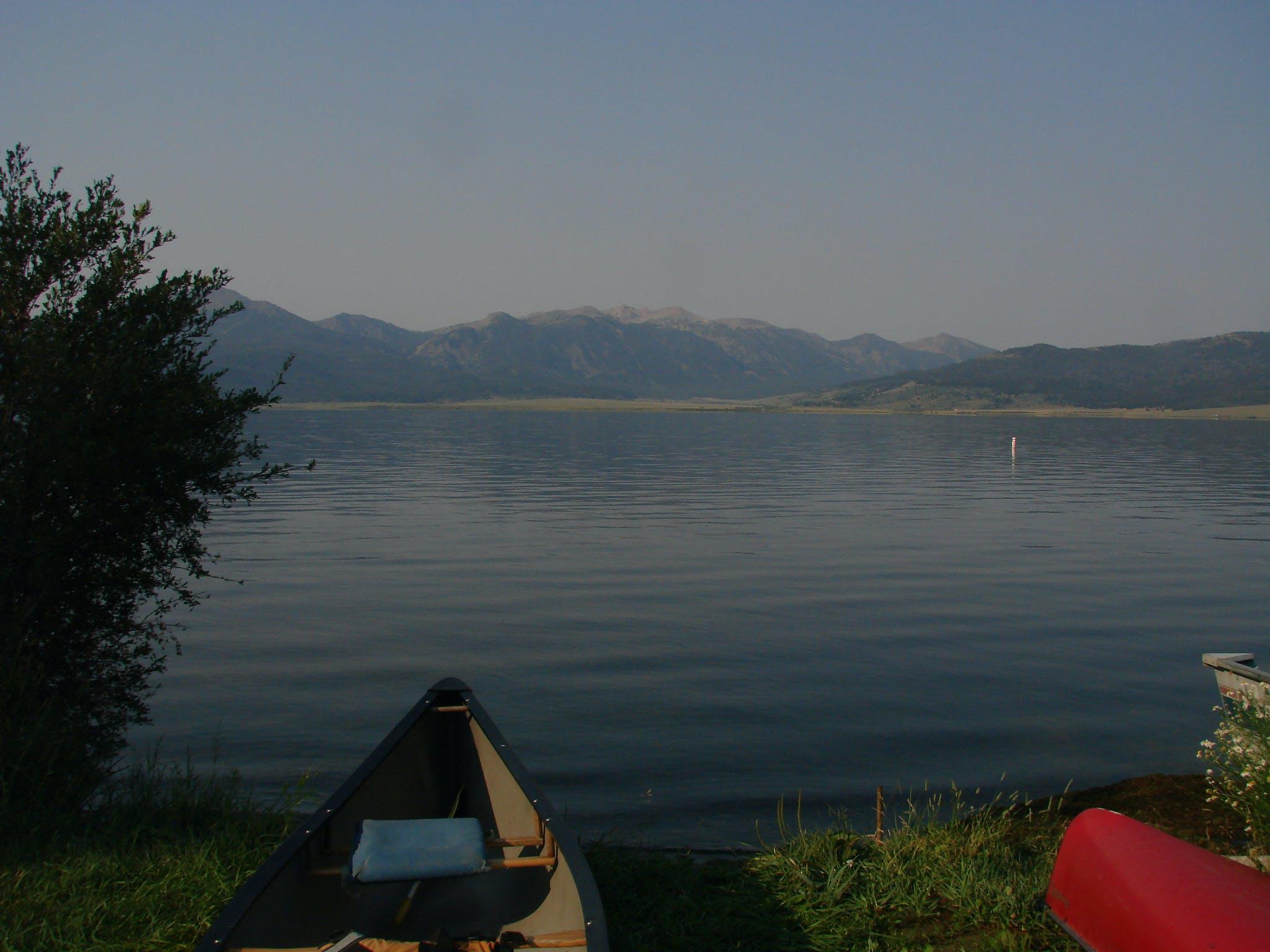 a canoe on the shore of Hunt Lake