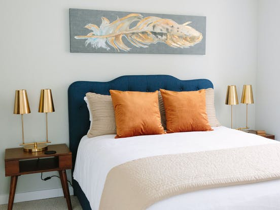 bedroom of vacation home designed by Vacasa Home Interiors Program