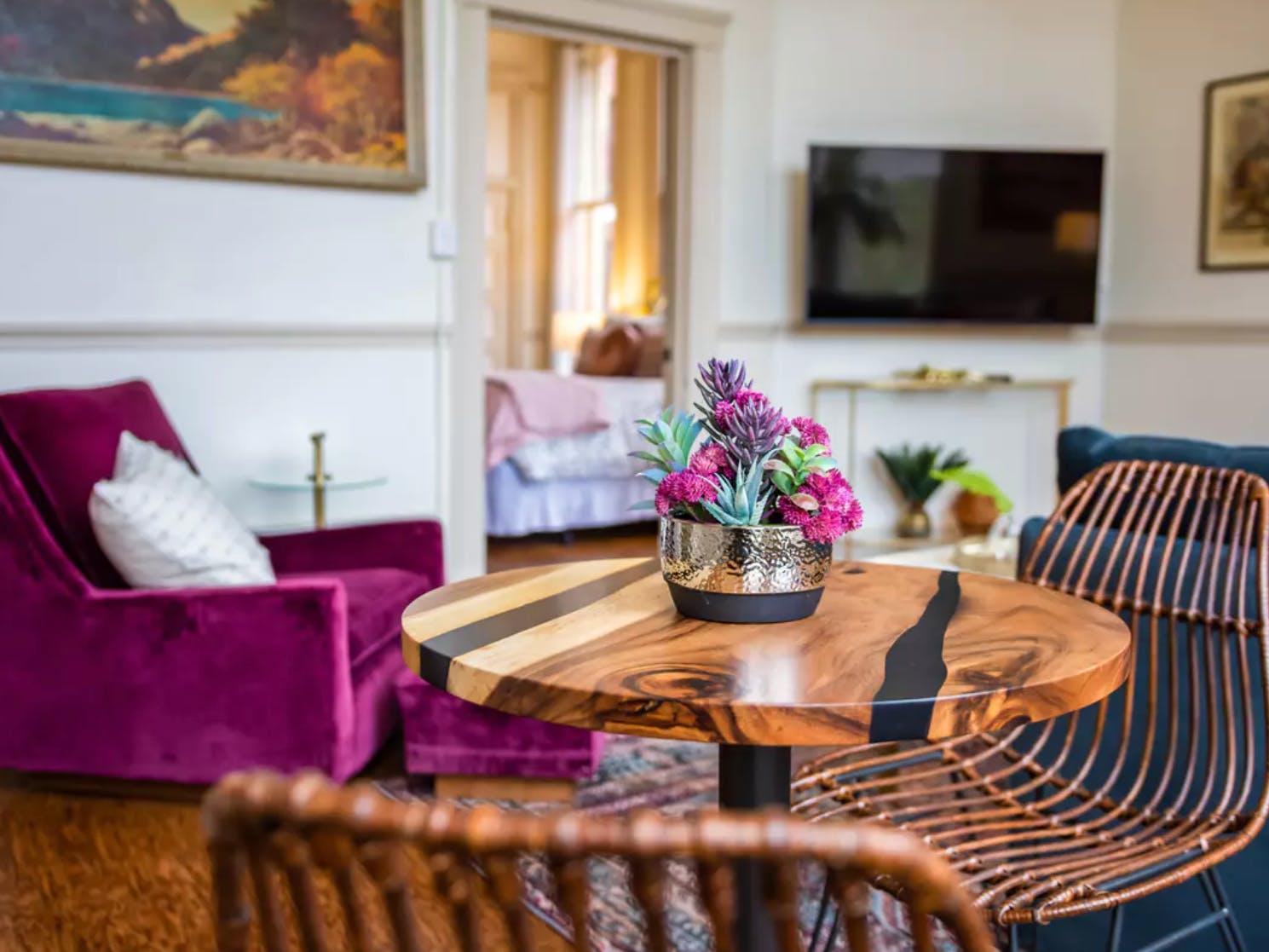 Interior design of a vacation rental living area