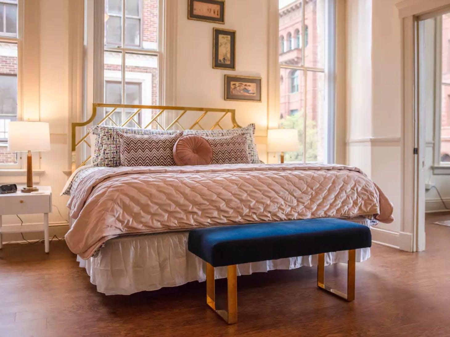 Artfully designed vacation rental bedroom