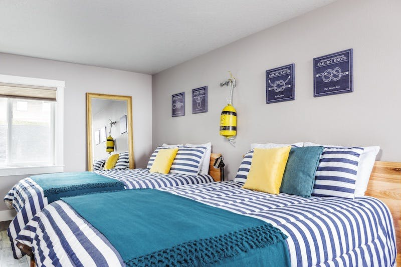 Interior of vacation rental with a nautical theme