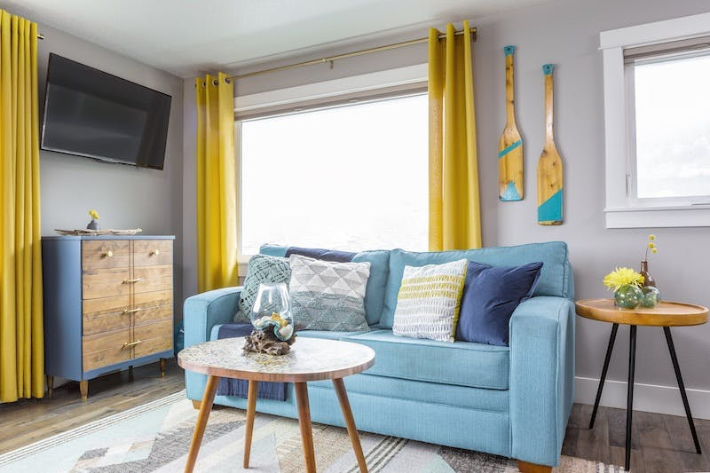 vacation rental living space accented with blue
