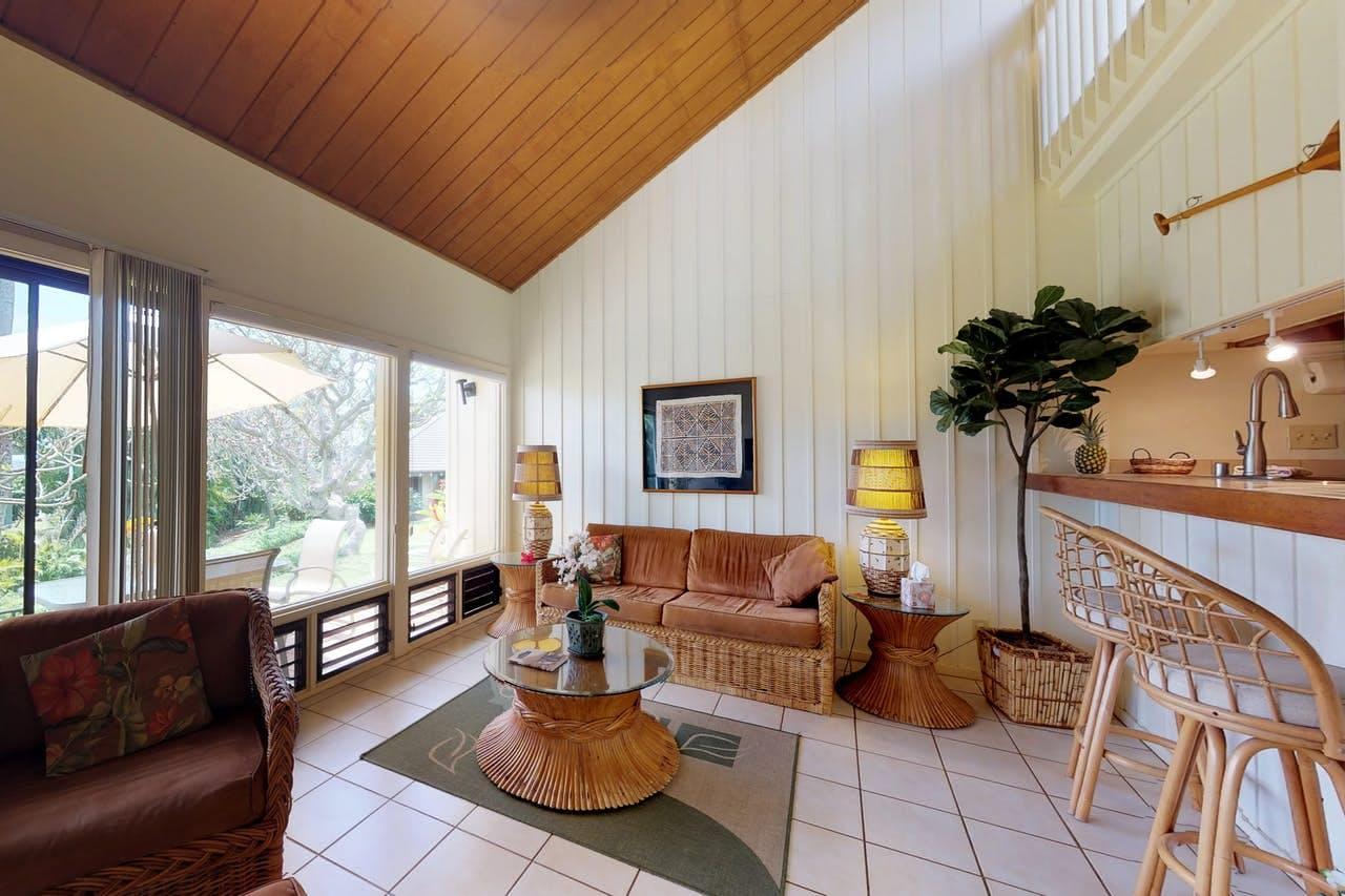 the living room of a Poipu condo
