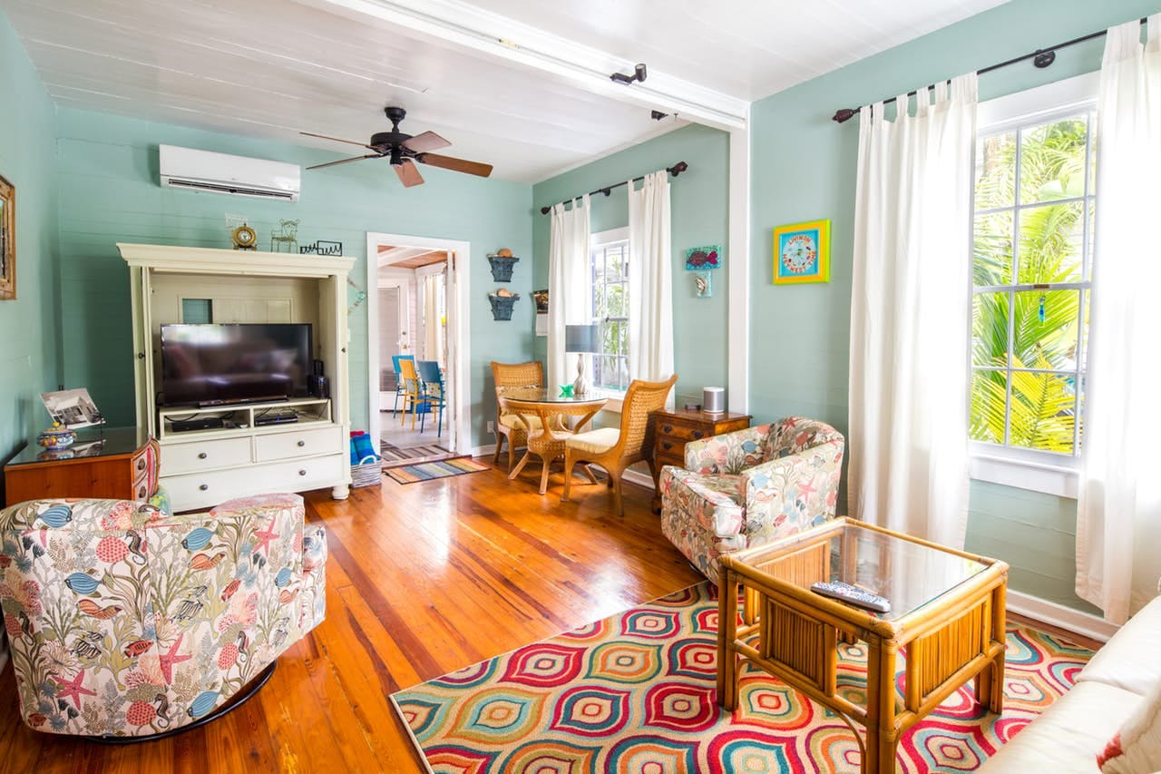 a bright living room at a key west home