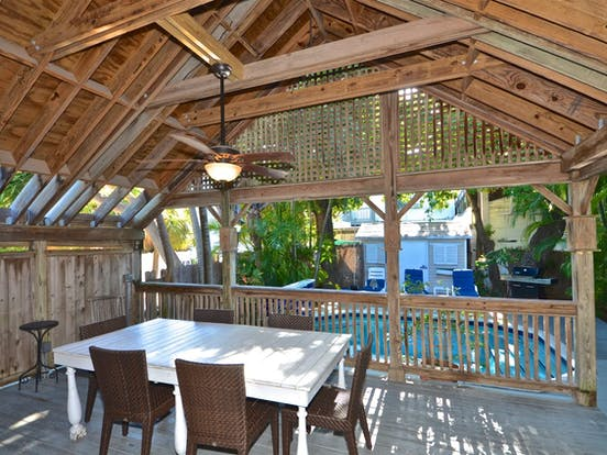 beautiful covered deck perfect for dining al fresco