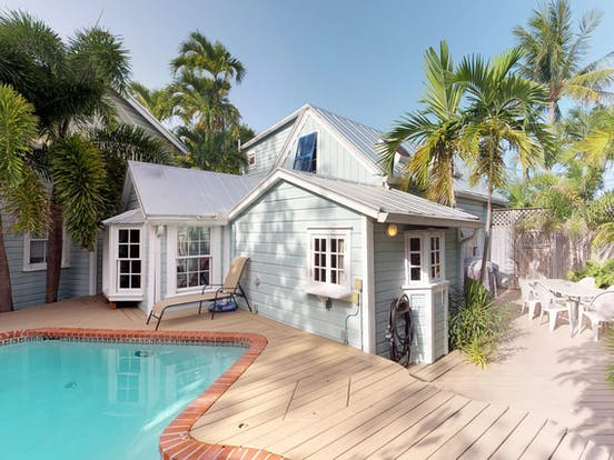 multi-level vacation home in Key West with outdoor pool and fenced backyard