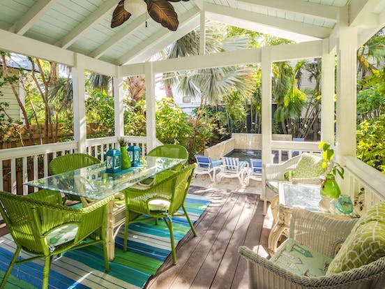 brightly decorated patio of key west cottage