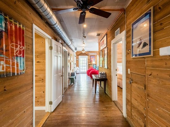 Wood paneling inside a Key West cottage