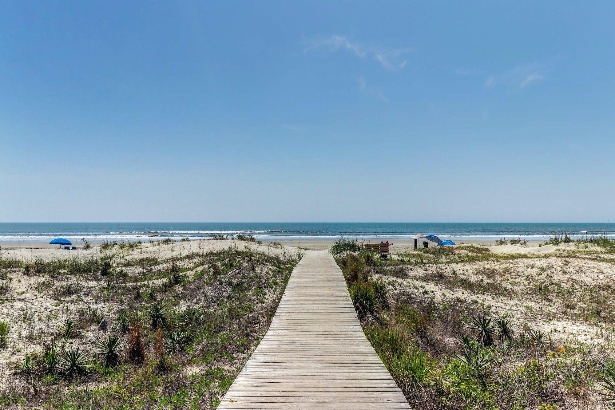 Boardwalk leading to the beach in Kiawah Island, South Carolina