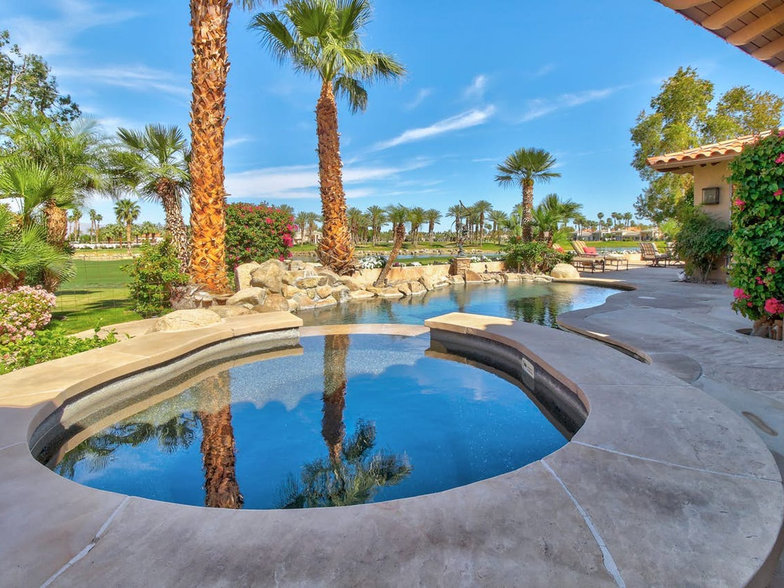 Vacation home in La Quinta with a private pool and golf course views