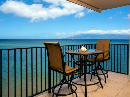 View of Pacific Ocean from balcony of Lahaina, HI vacation rental