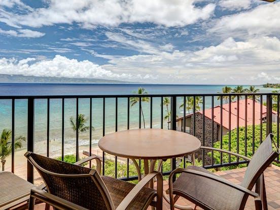 Balcony from Lahaina vacation condo with ocean views