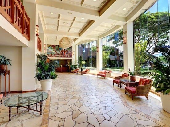 Lahaina resort interior with floor-to-ceiling windows
