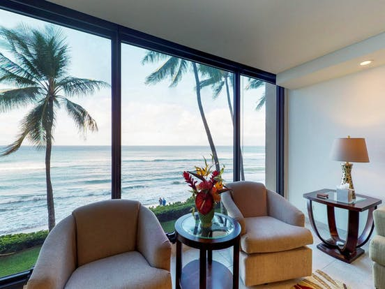beach view from inside vacation condo located in Lahaina