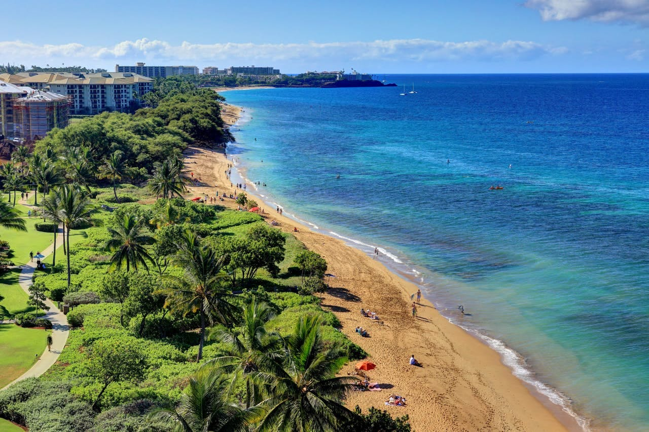 View of beach and ocean of Lahaina, Maui