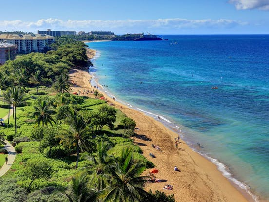 View of beach and ocean in Lahaina, Maui