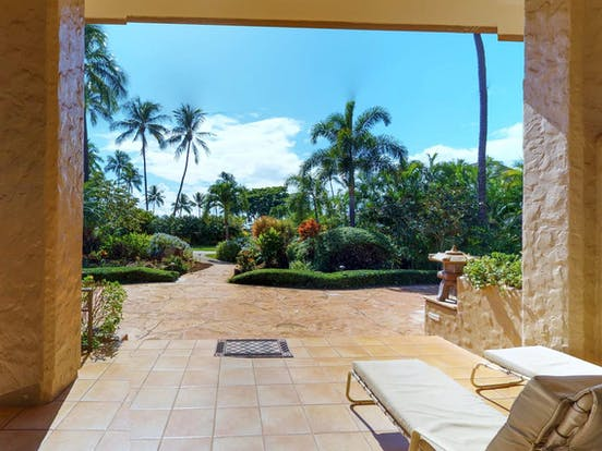 Patio with gorgeous view of Maui Kaanapali Villas resort
