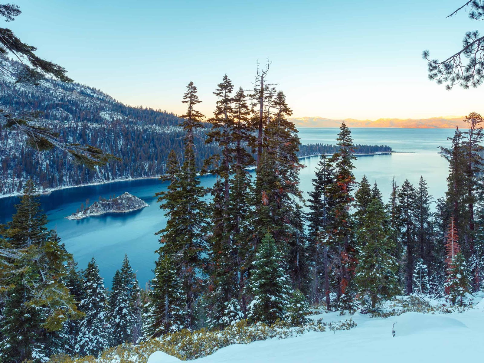 lake tahoe surrounded by snow-capped mountains and pine trees