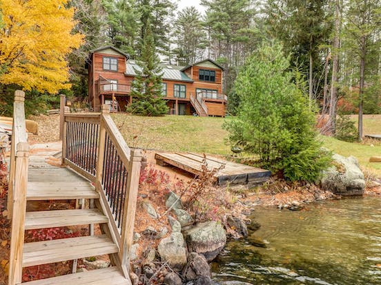 lakefront vacation home in the Adirondacks with dock