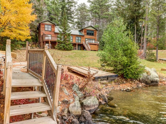 Lakefront vacation home in the Adirondacks with a private dock