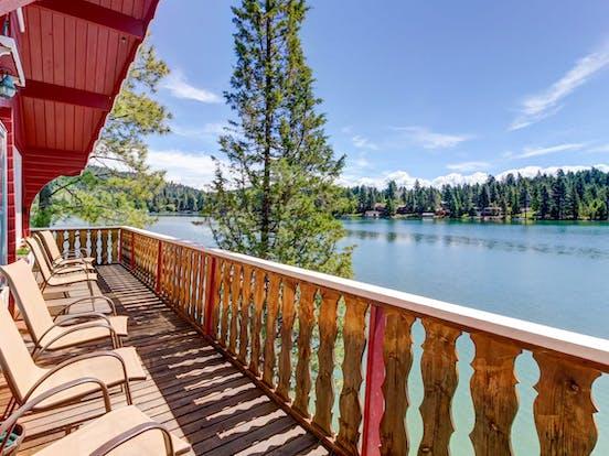 Vacation rental balcony overlooking a lake