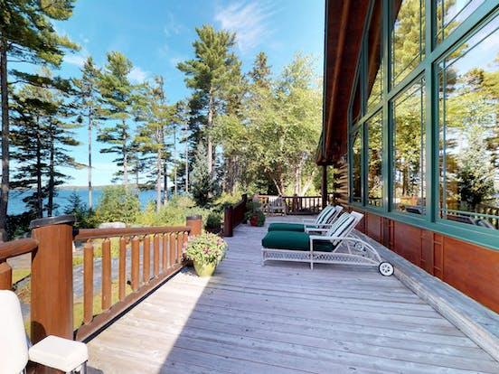 Lake-facing deck of Moosehead Lake vacation rental