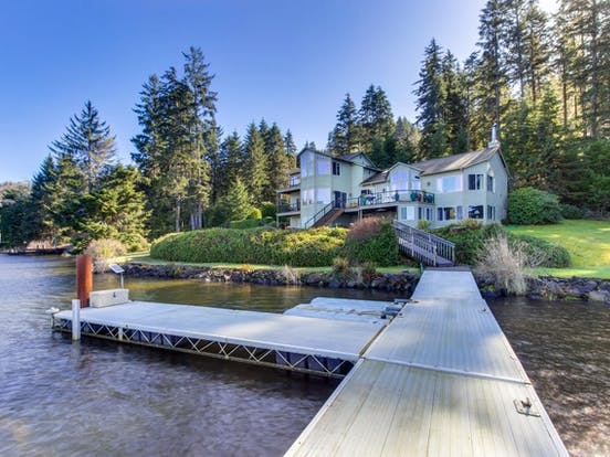 View from dock of Oregon lakefront vacation rental