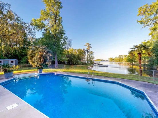 lakefront vacation rental with pool in South Carolina
