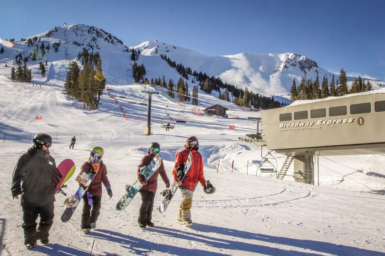 a group of snowboarders walking to the lift on Mammoth Mountain