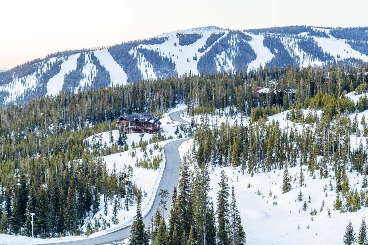 arial view of the road leading to Moonlight Basin in Big Sky