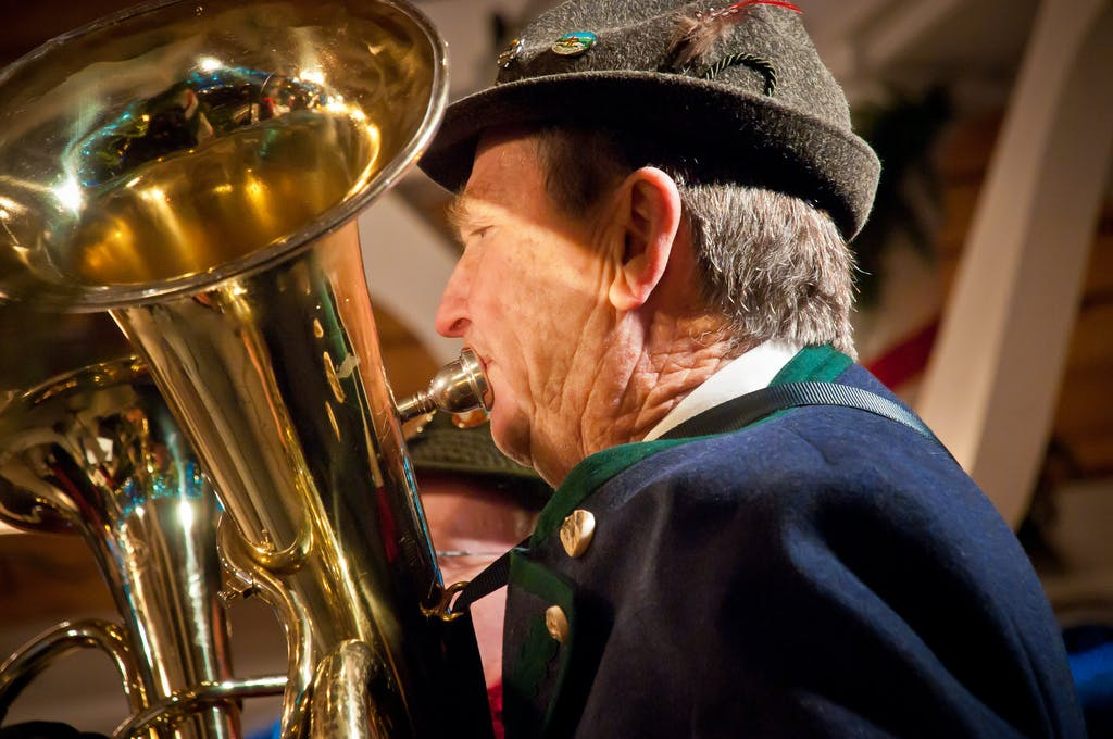 a musician at a Leavenworth Christmas concert