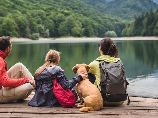 family and their dog hanging out on a dock over a lake